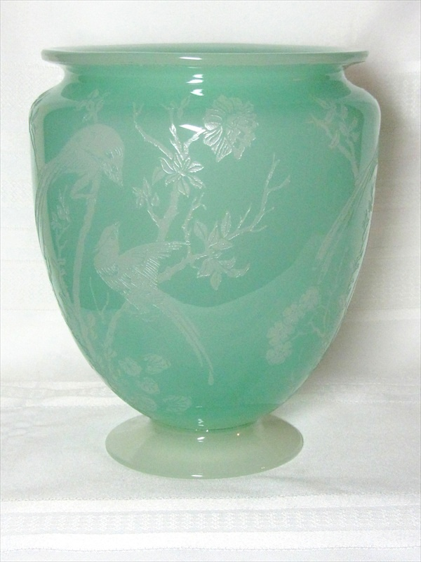 Steuben Birds Of Paradise Acid Cut Back Vase Light Jade Green To Alabaster For Sale