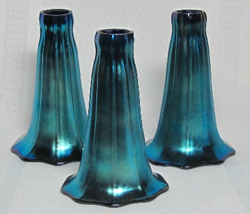 Art Glass Lily Shades Set Of 3 Blue Ribbed Aurene