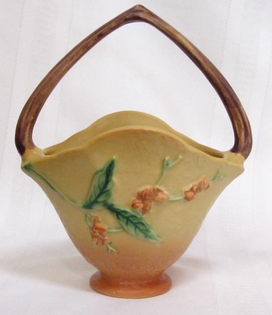 Roseville Pottery Bittersweet Basket Vase Very Nice