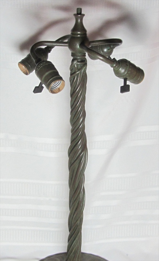 Tiffany Studios Museum Quality Twisted Vine Reproduction Bronze Base 4 Lights For Sale