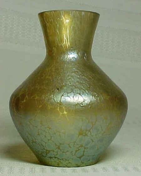 Loetz Gold Papillon Art Glass Vase Great Mottling For Sale
