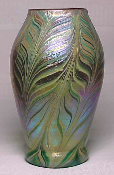 Trevaise glass pulled feathers vase outstanding detail