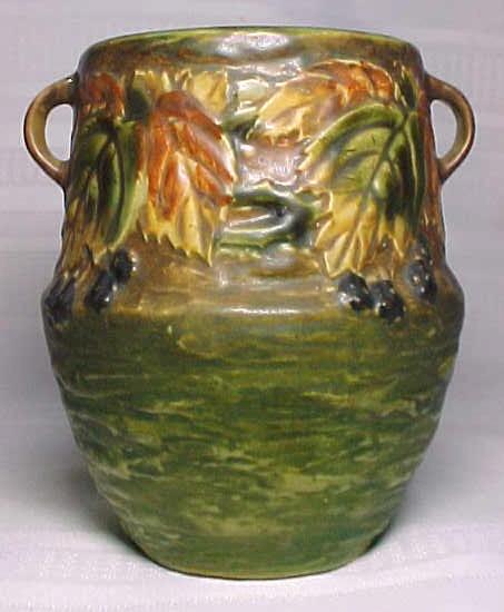 Roseville Pottery Blackberry Double Handled Vase Nice For Sale