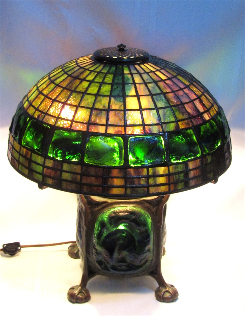 in the manner of tiffany studios 16 inch turtleback table lamp bronze base for sale