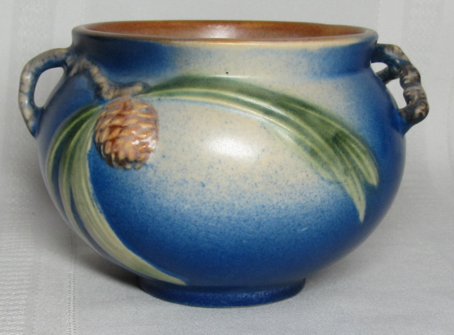 Roseville Pottery Pinecone Blue Jardiniere Very Nice For Sale