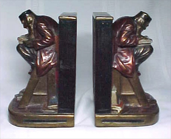 Armor Bronze Bookends Vintage Scholar Reading Excellent
