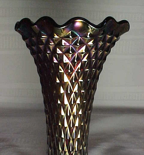 Northwood Glass Company Diamond Point Amethyst Vase For Sale