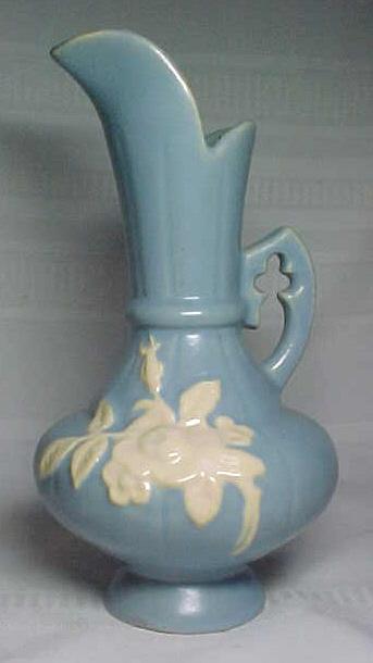 Weller Pottery Cameo Ewer Vase Blue White Flowers For Sale