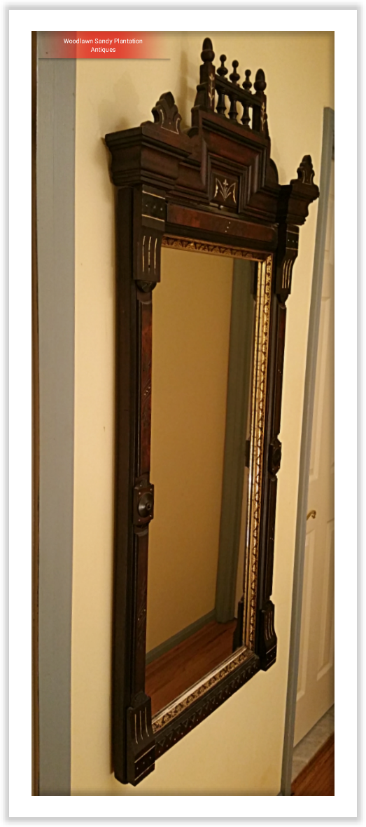 Large Walnut Victorian Eastlake Carved Mirror For