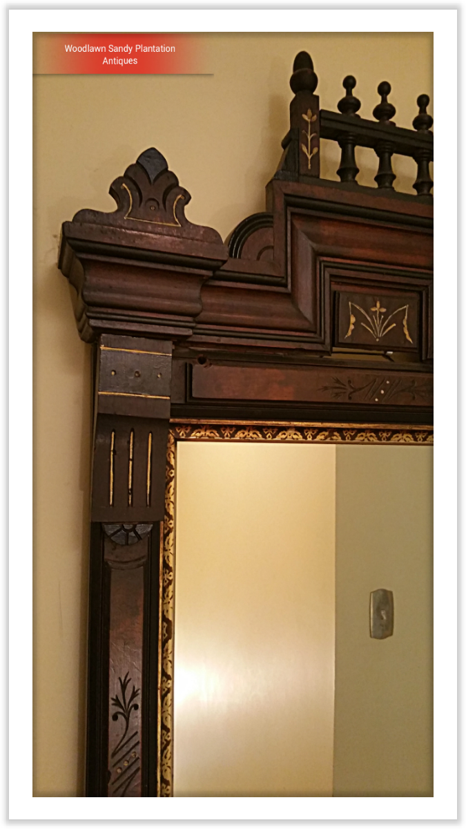 Large Walnut Victorian Eastlake Carved Mirror For