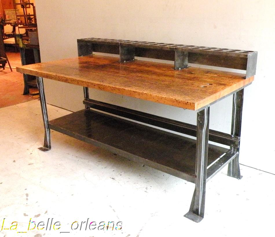 Awsome vintage industrial steel and maple top island for sale classifieds - Industrial kitchen island for sale ...
