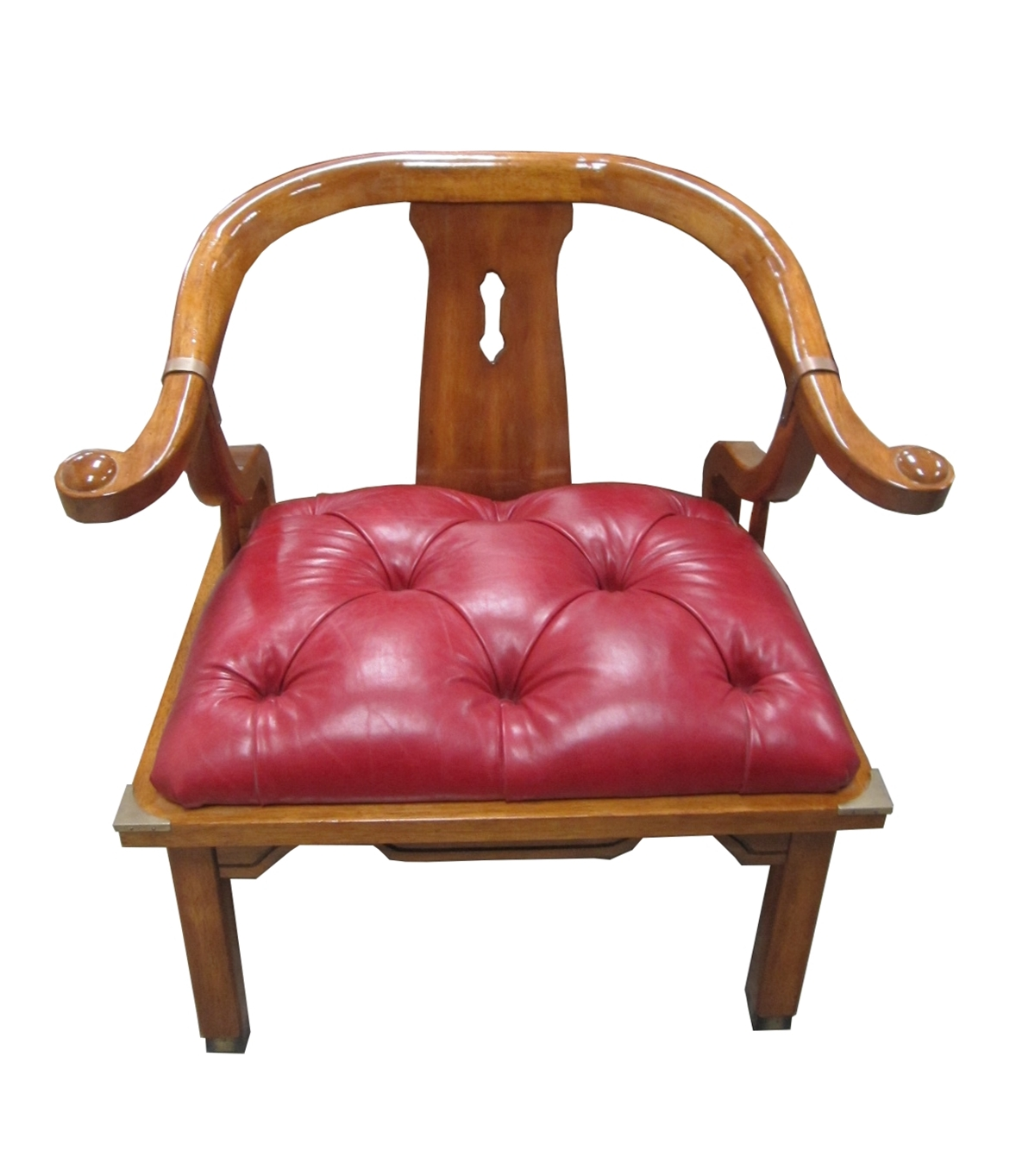 James Mont Style Asian Chair In Red Leather Tufted Seat And Brass Accents    For Sale