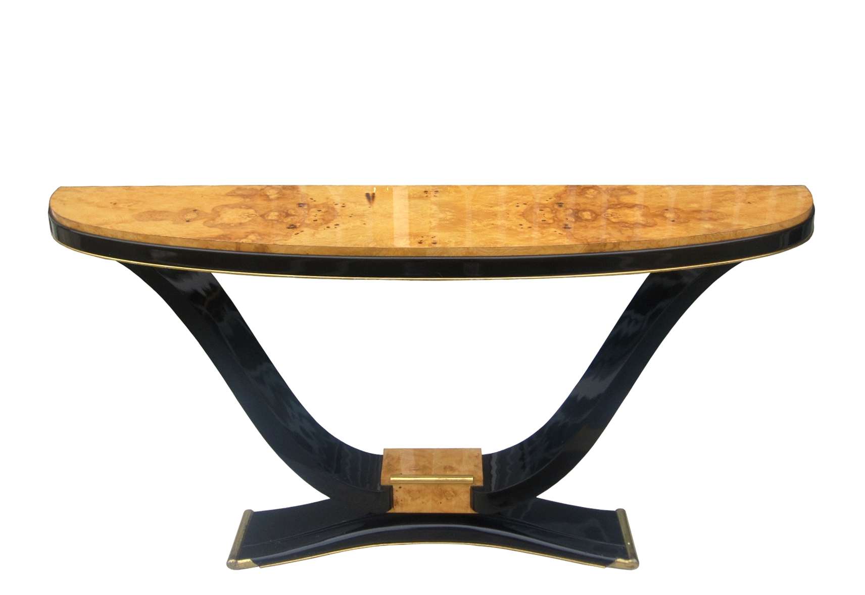 french art deco burl wood black lacquered console table for sale classifieds. Black Bedroom Furniture Sets. Home Design Ideas