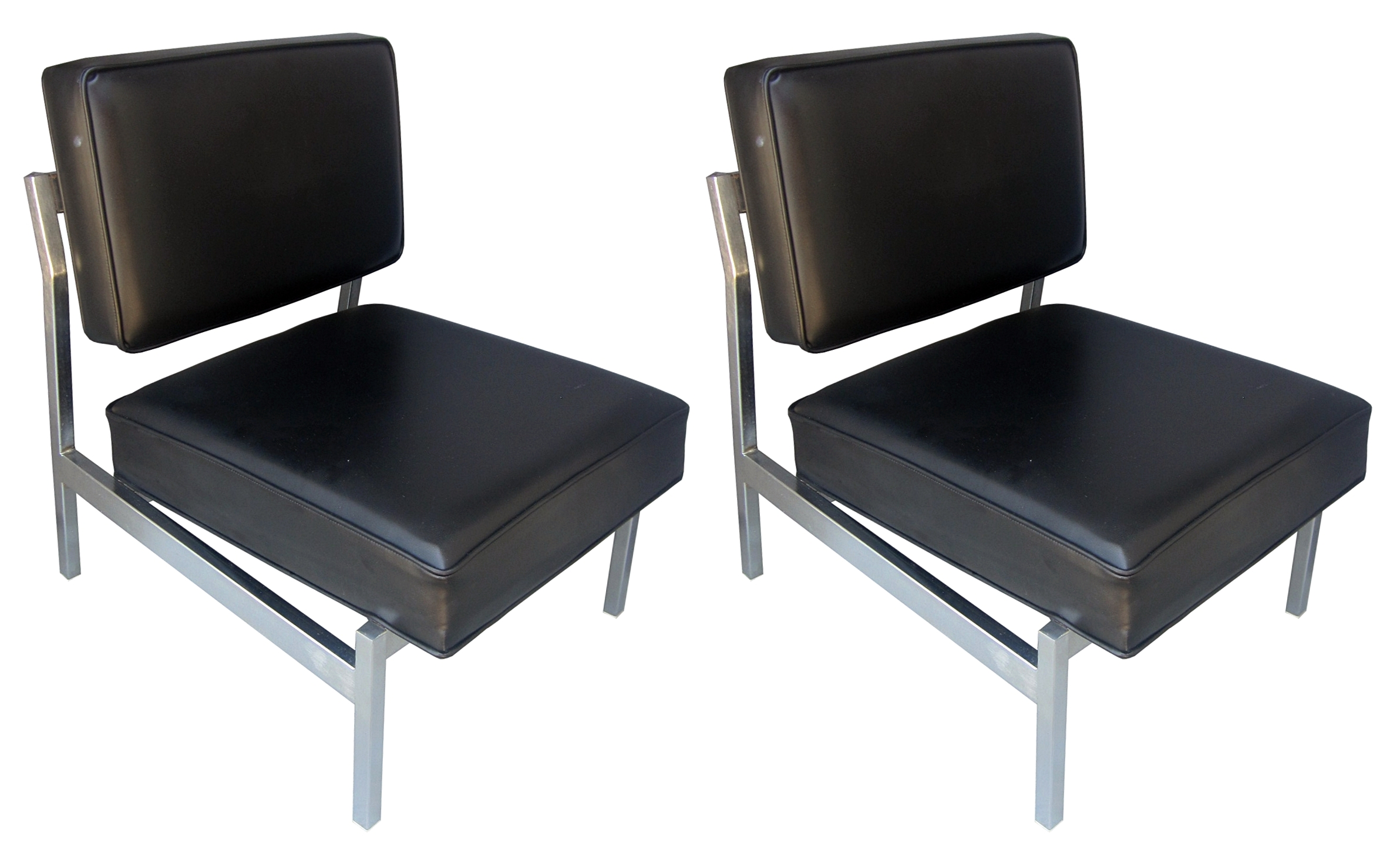 Superieur Florence Knoll Designed Slipper Chairs, Seamless Brushed Stainless Steel  Frames Upholstered In A Black Naugahyde Fabric. The Chairs Are In Very Good  Vintage ...