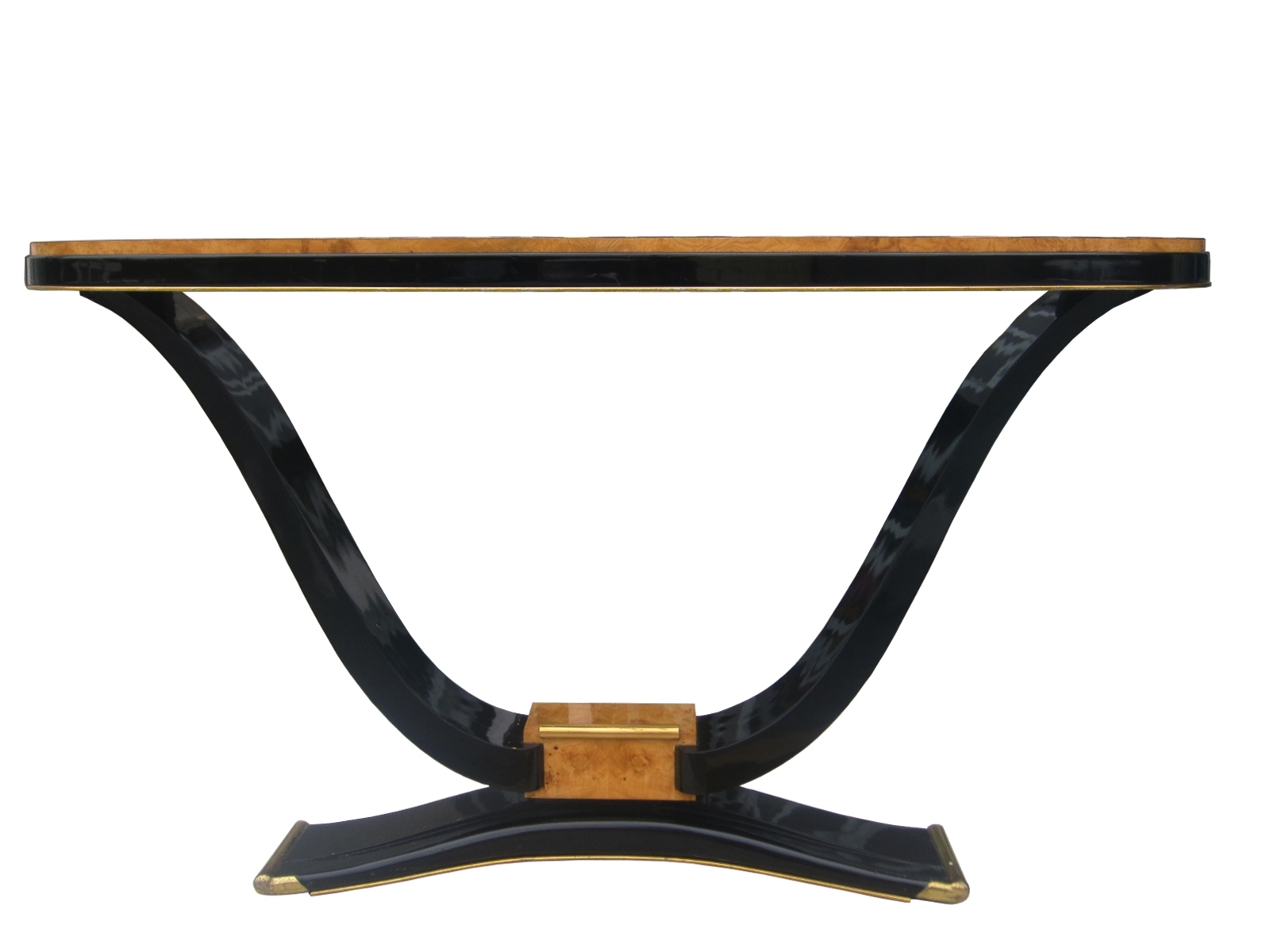 French Art Deco Burl Wood & Black Lacquered Console Table For Sale ...