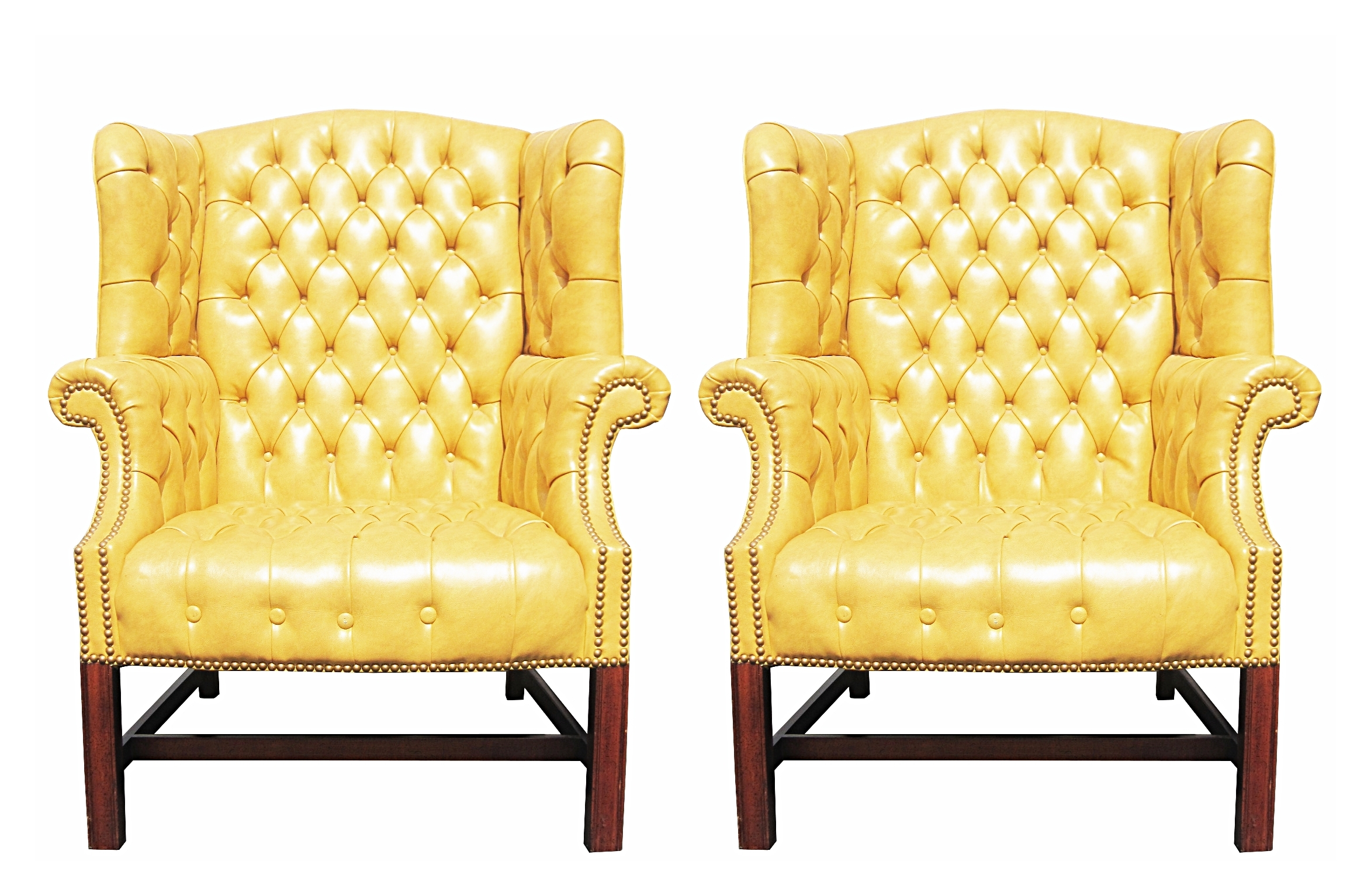 pair of wormley style wingback chairs in yellow naugahyde for sale