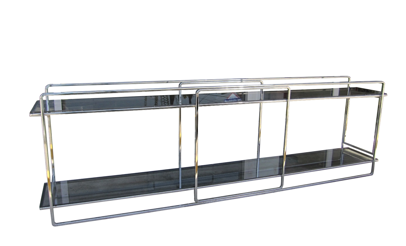 Milo Baughman 2 Tiered Chrome Glass Console Table For Sale Classifieds