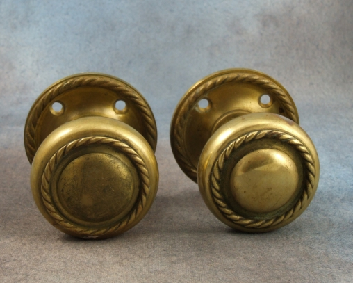 Antique brass door knobs handles pair for sale antiques com