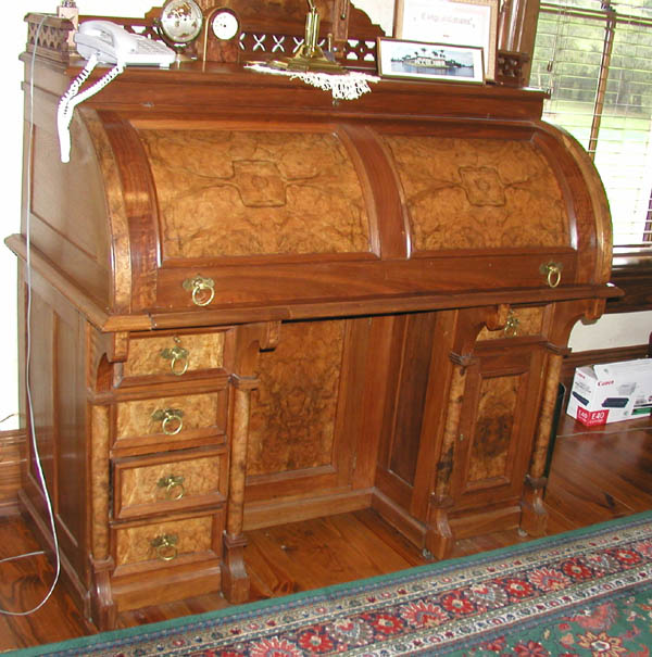 Victorian burled walnut cylinder desk - For Sale - Victorian Burled Walnut Cylinder Desk For Sale Antiques.com