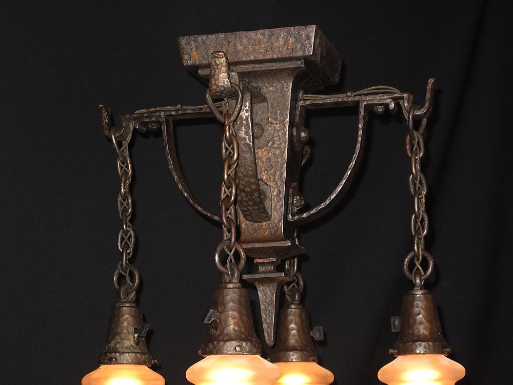 Hammered Arts Crafts Lighting Fixture