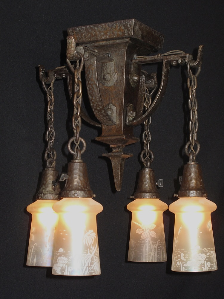 hammered arts crafts lighting fixture antique lighting for sale. Black Bedroom Furniture Sets. Home Design Ideas