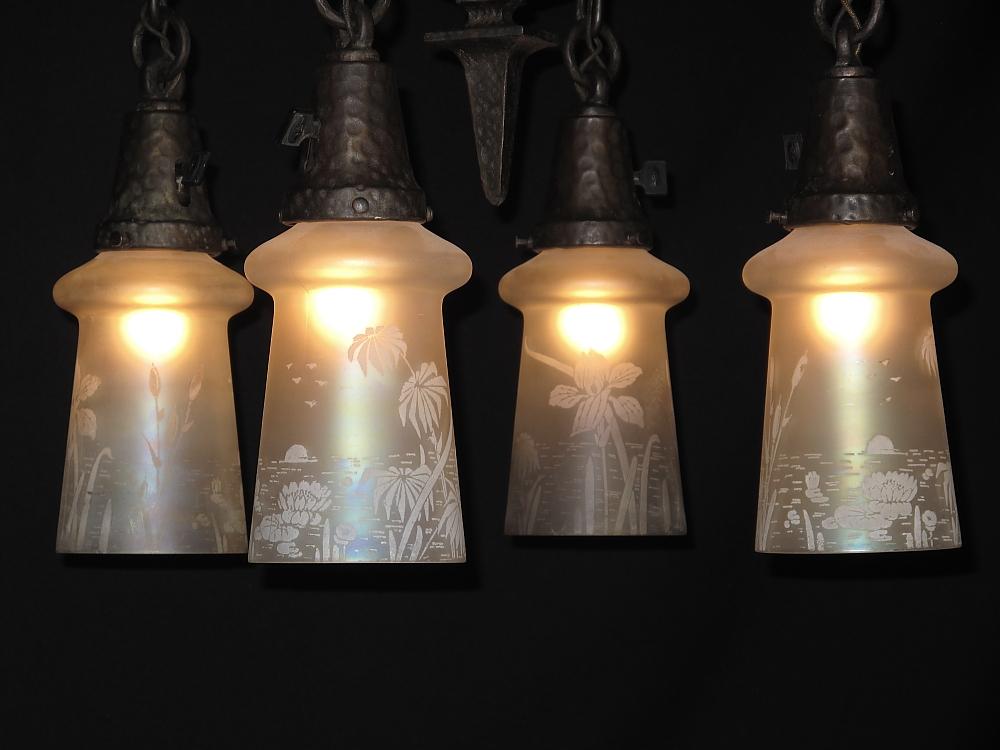 hammered arts crafts lighting fixture antique lighting for