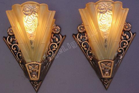 Vintage Lightolier Art Deco Bungalow Wall Sconces