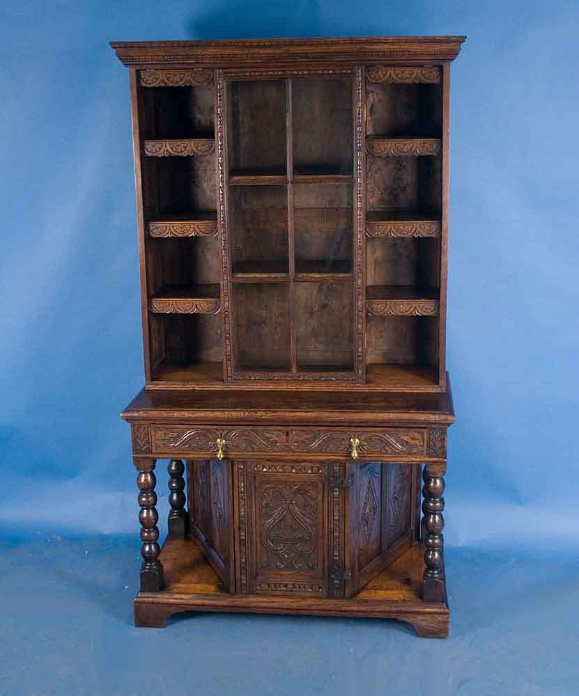 Antique Carved Oak Bookcase Cabinet For Sale