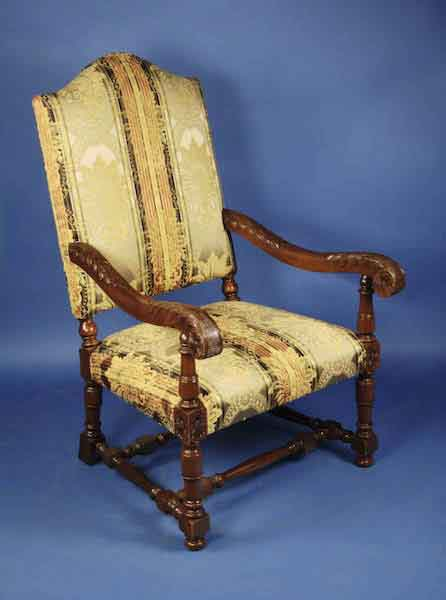 Antique French Mahogany Armchair   For Sale