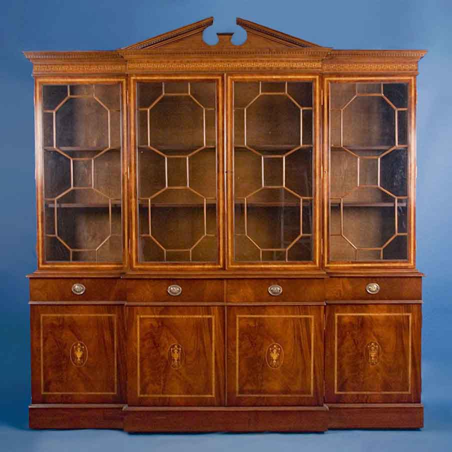 Antique Style English Mahogany Breakfront Bookcase For