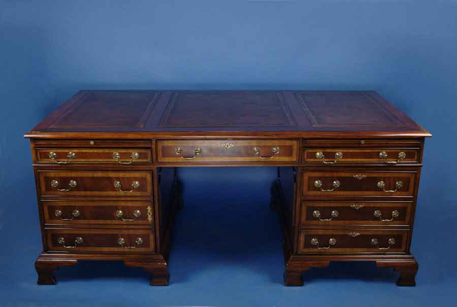 circa: 2000 width: 74 height: 32 length: 38 This beautiful mahogany  pedestal desk is English-made by hand as a Georgian period reproduction. - Antique Style English Mahogany Pedestal Desk For Sale Antiques.com