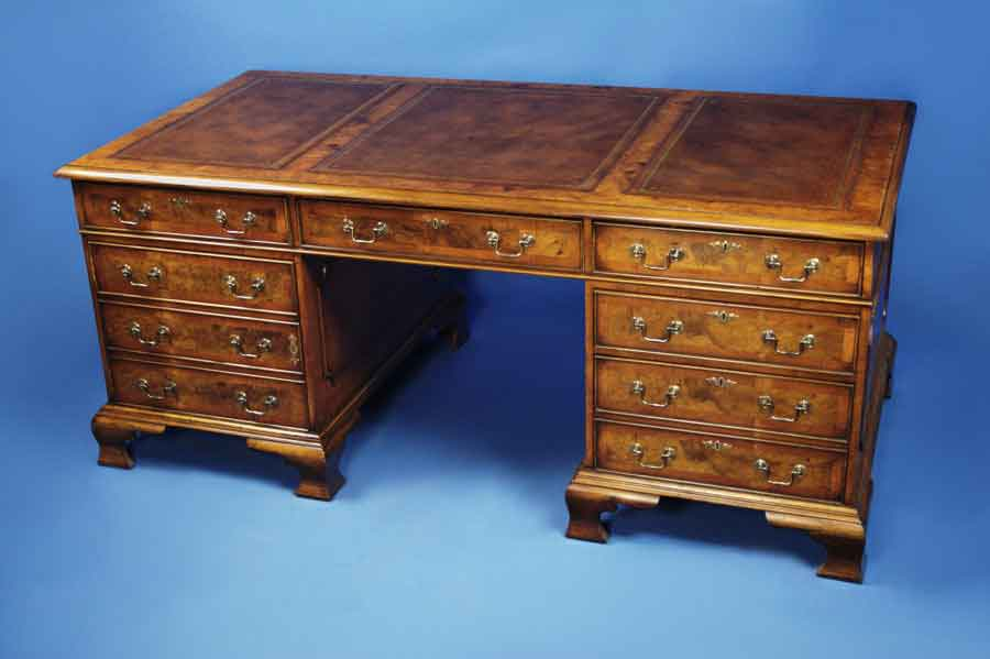 antique style english walnut partners desk for sale