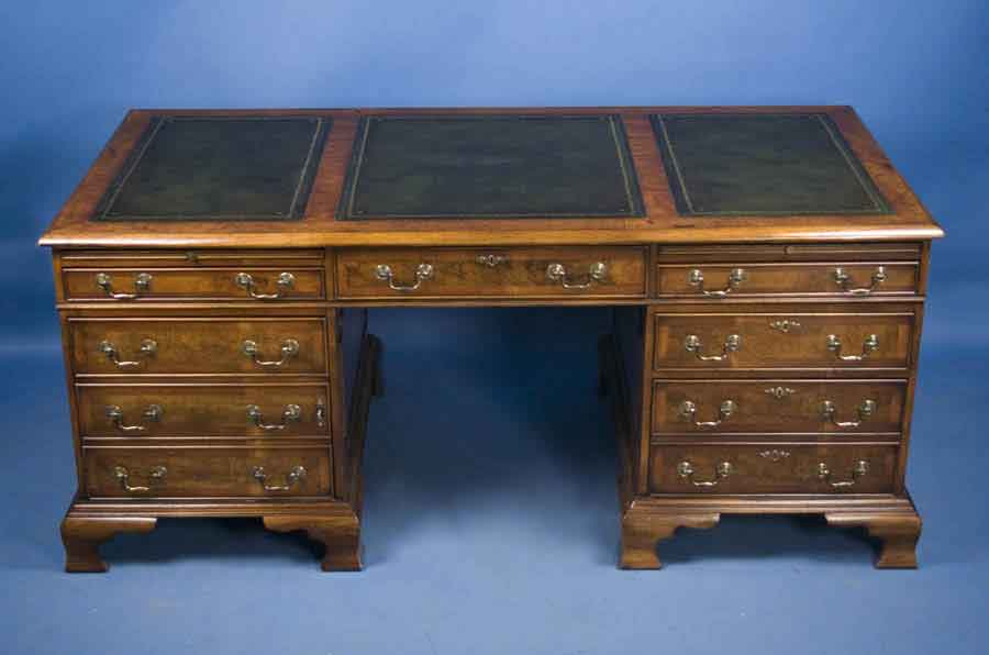 Antique Style English Walnut Pedestal Desk For Sale