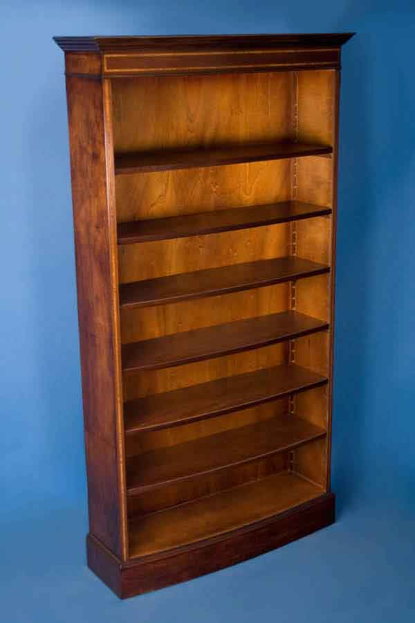 Antique Style Mahogany Bow Front Bookcase For Sale