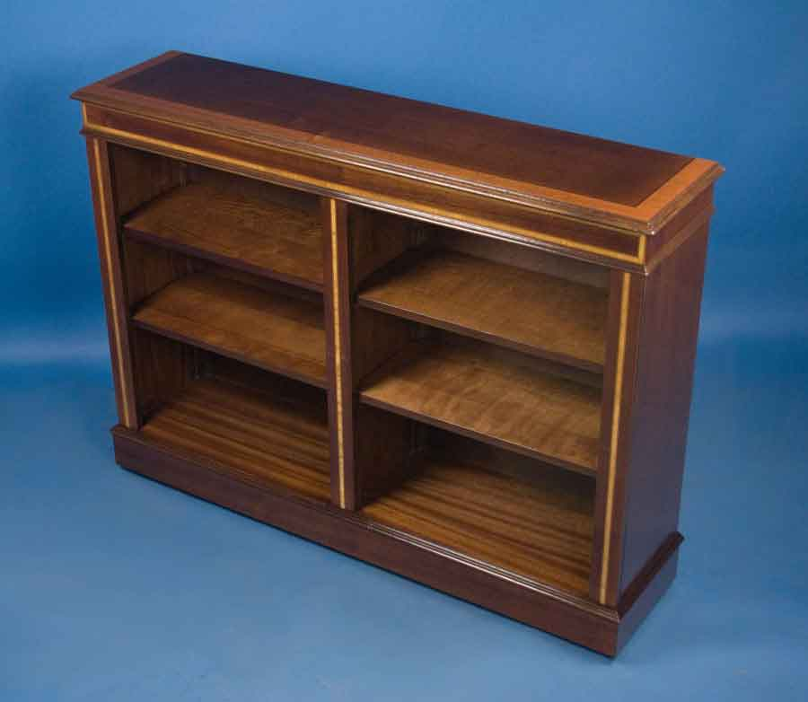 Antique Style Mahogany Double Bookcase For Sale