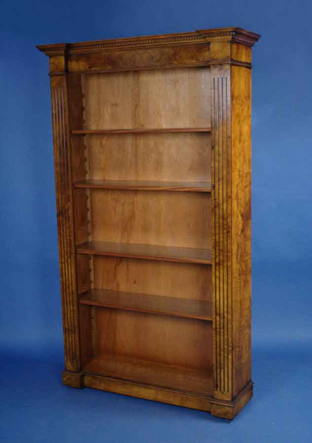 Antique Style Walnut Breakfront Bookcase