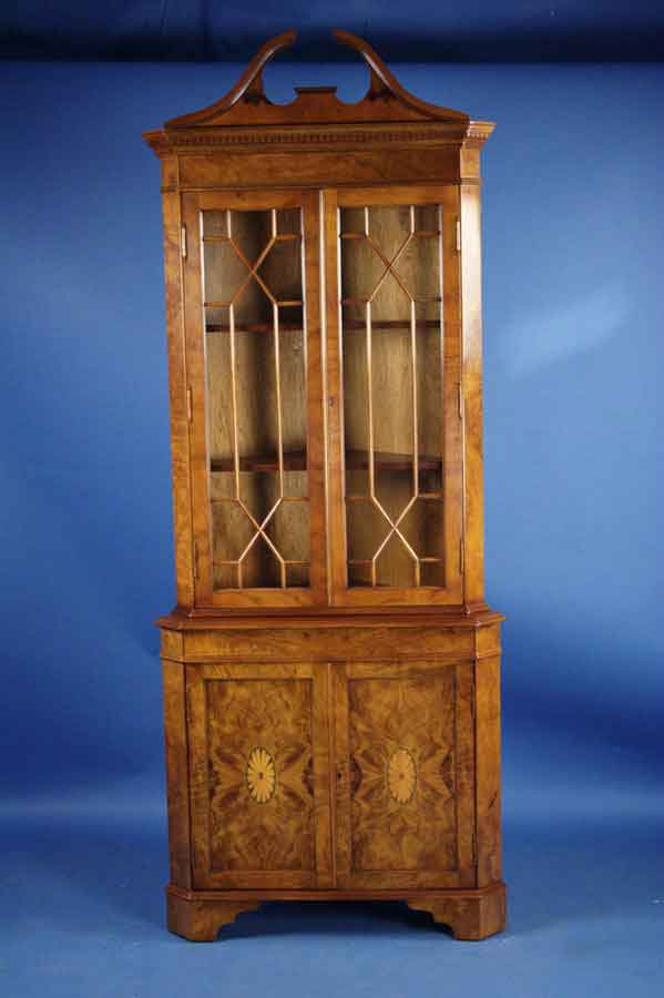 circa: 2000 width: 33 height: 84 length: 22 This gorgeous walnut corner  cabinet is crafted in England using Georgian style design and techniques. - Antique Style Walnut Corner Cabinet For Sale Antiques.com