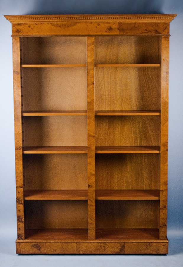 Circa 2000 Width 55 Height 76 Length 12 This English Walnut Double Open Bookcase Displays A Fine Rich Grain And Distinct Complexion While The Dental