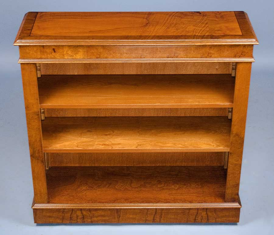 Antique Style Walnut Open Bookcase For Sale