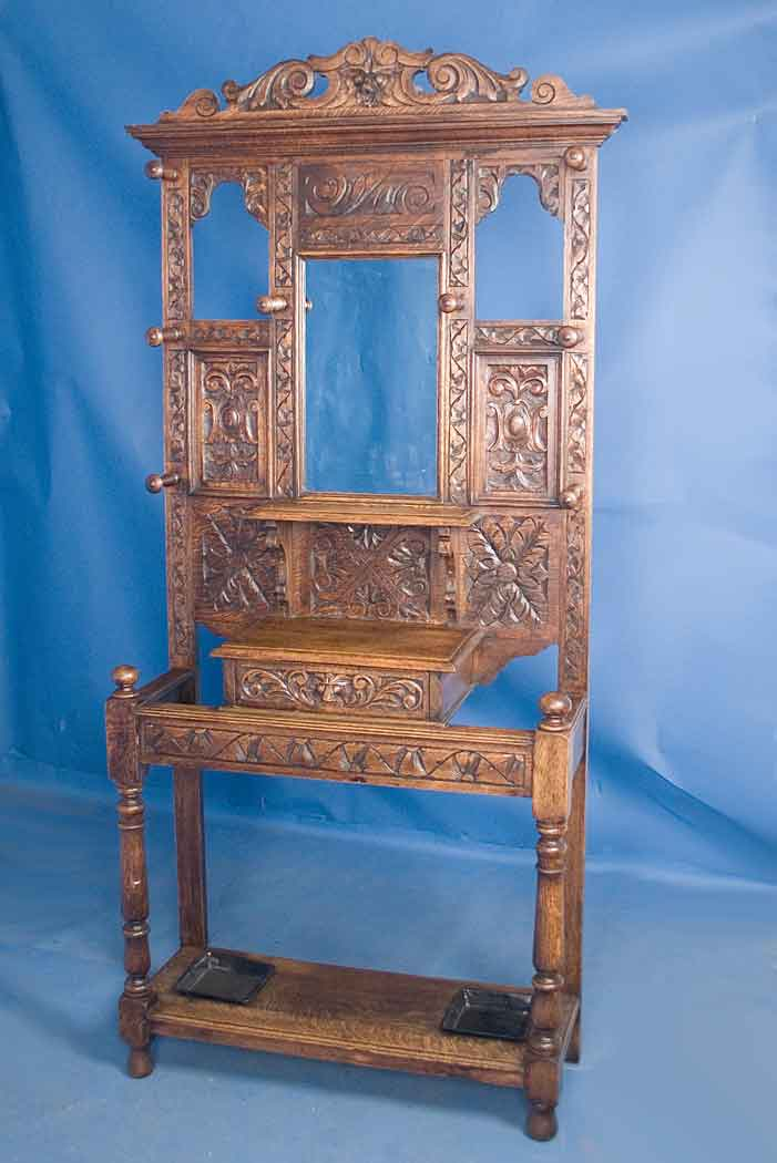 Antique Victorian Carved Oak Halltree For Sale Classifieds