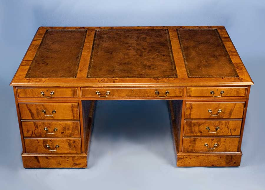 English Antique Style Walnut Partners Desk - For Sale - English Antique Style Walnut Partners Desk For Sale Antiques.com