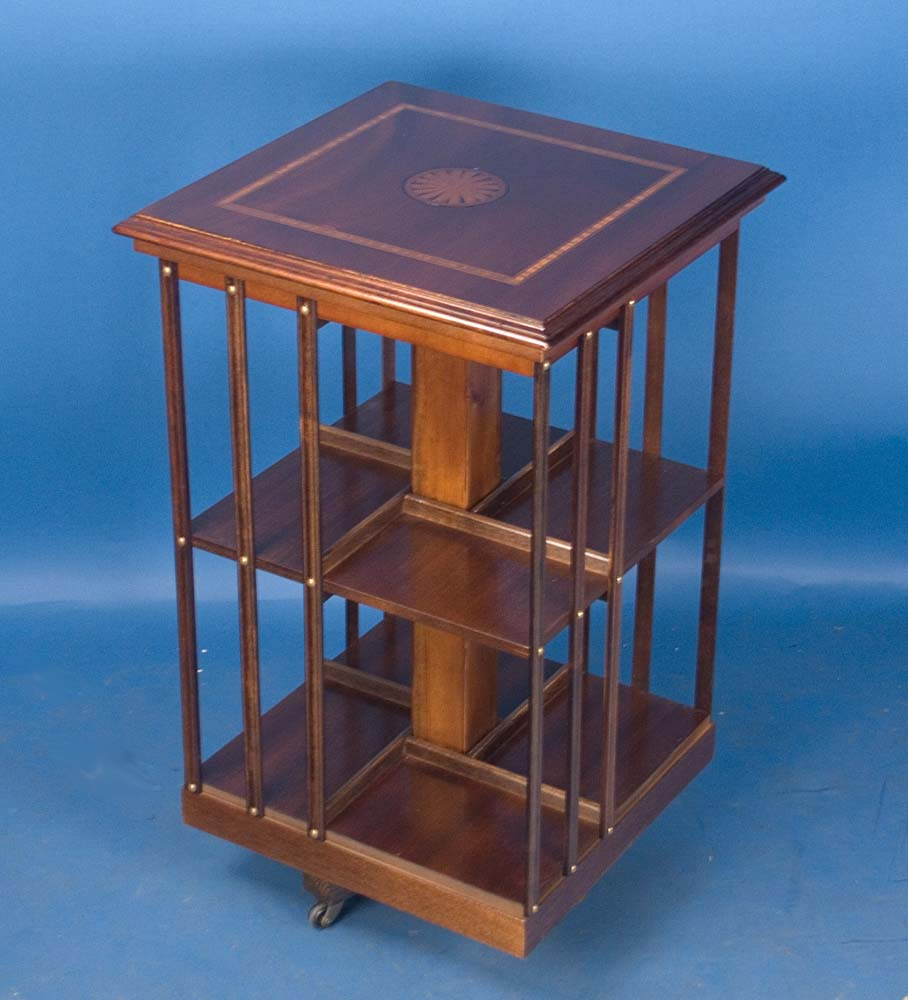English Mahogany Revolving Bookcase For Sale  Antiques