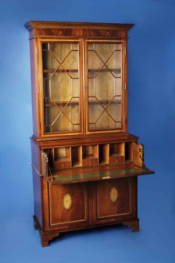 Georgian Style Mahogany Secretary Bookcase For Sale