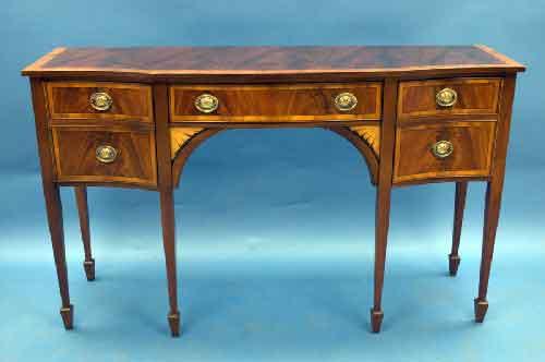 Georgian Style Mahogany Serpentine Sideboard For Sale
