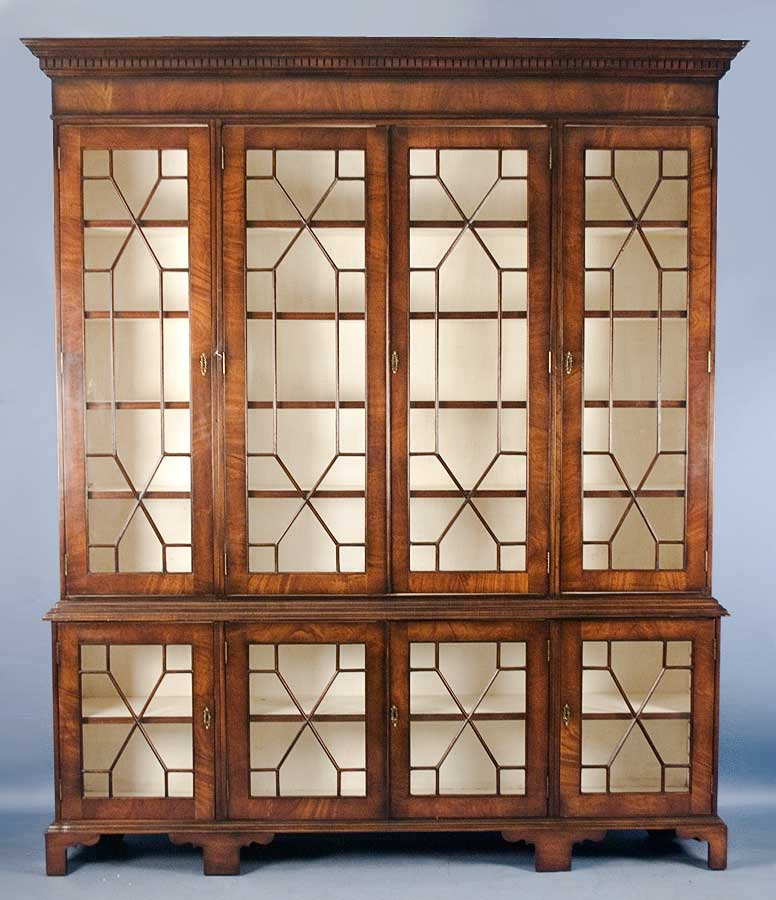 Large Antique Style Mahogany Glass Bookcase For Sale Antiques
