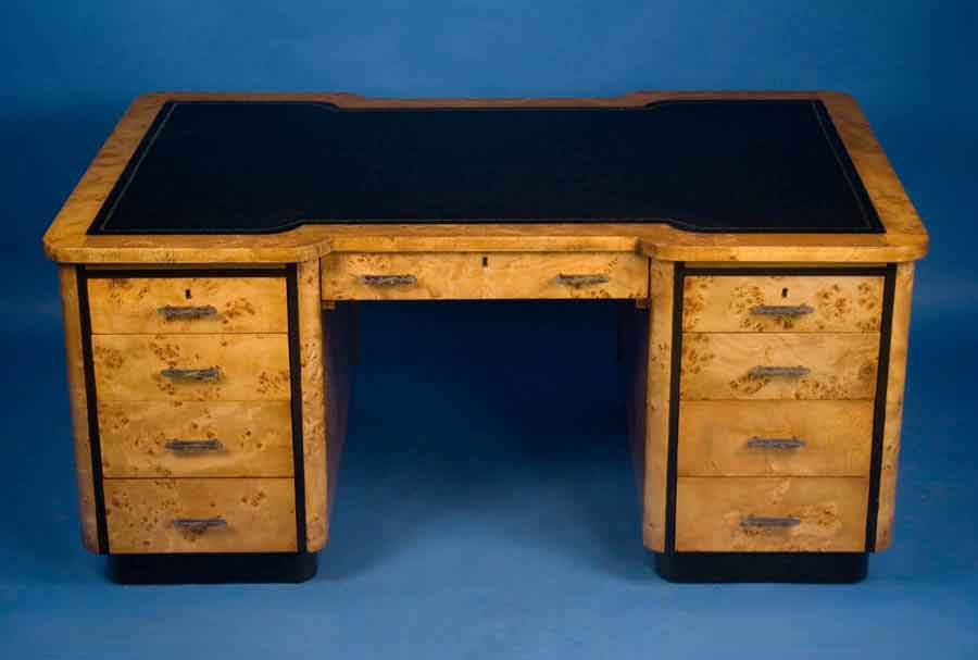 Maple art deco partners desk for sale Desk for sale
