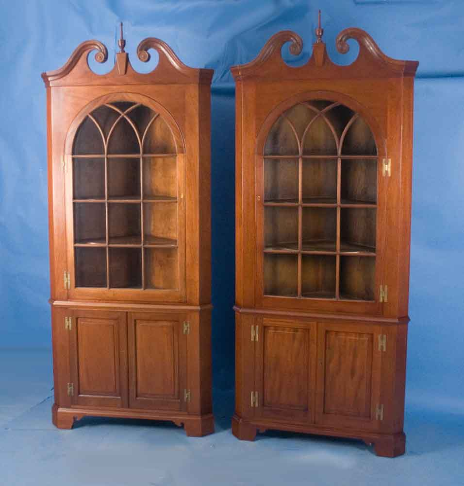 Pair of mahogany corner cabinets for sale for Corner cabinet