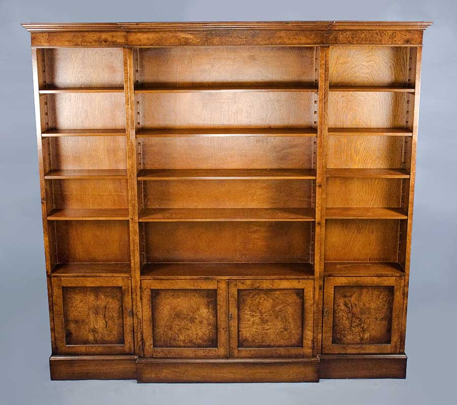 Reproduction Antique Walnut Triple Bookcase For Sale