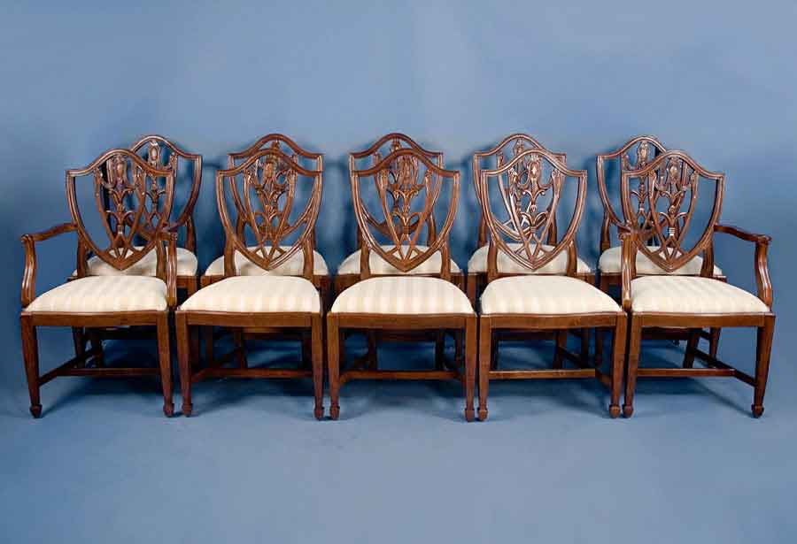 Set Of 10 Shield Back Mahogany Dining Chairs