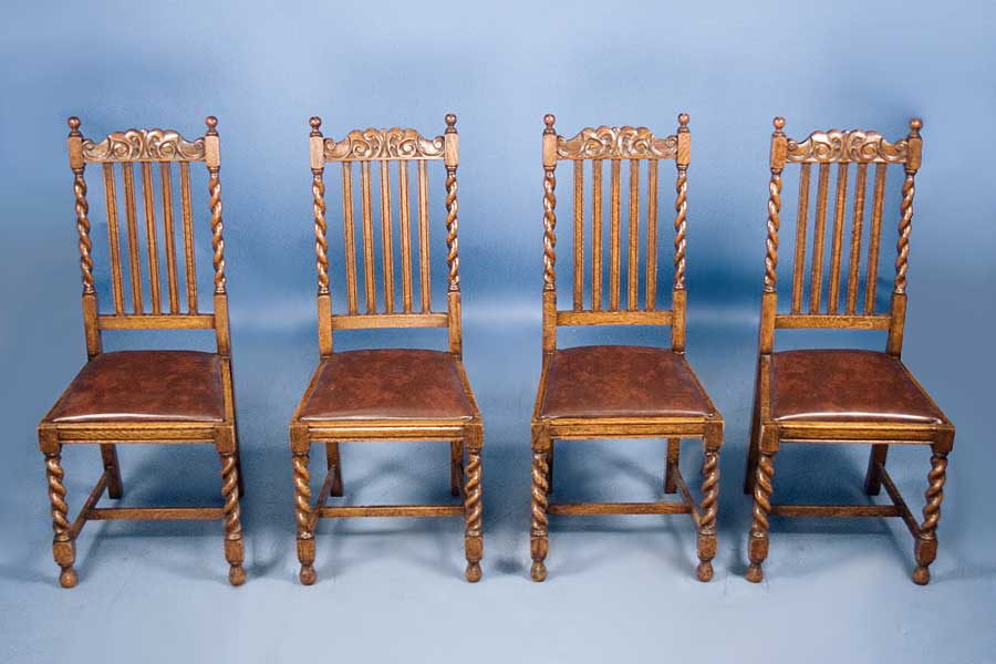 Set Of 4 Antique Oak Barley Twist Dining Chairs